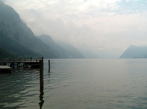 mountain lake: a calm day at Hallstätter See, a lake in Upper Austria