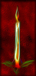 Candle on red foil