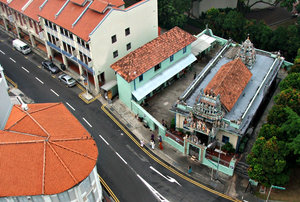 small temple complex: looking down on small Hindu temple complex in Singapore
