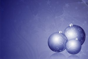 Christmas Balls 2: Three Christmas baubles on floral background