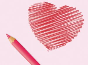 Heart Doodle: A heart doodle and pencil over pale pink background.