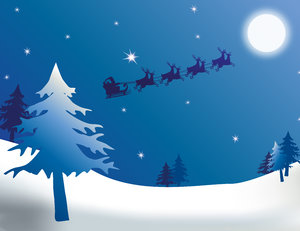 Midnight Clear 2: Santa, full moon, starry sky and a snowy landscape.