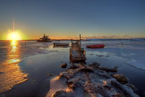 Ships in icy water - HDR