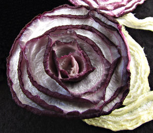 home dried: home dehydrated vegetables - onions and beetroot