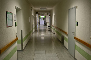 Empty corridor in a hospital: no description