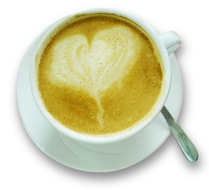 coffee: cup and saucer with heart-shaped froth
