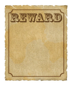 Reward Poster: Grungy reward poster with border and lots of copyspace.  Digital render.