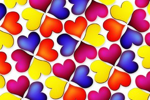 Colorful heart flowers