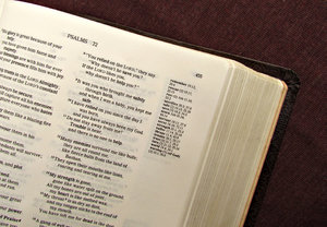 open Bible1: Bible open in the Old Testament Psalms