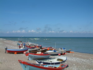 Rowing boats on the beach