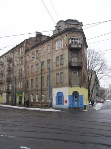 Old block: Old house. Praga district in Warsaw, Kaweczynska street.