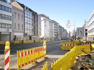 Roadworks: Roadworks in Dusseldorf.