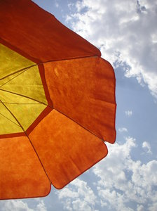 Beach time 2: Orange and yellow sun umbrella