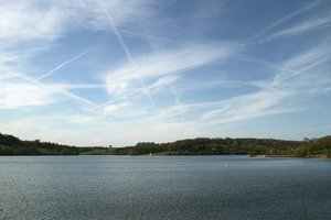 Lake: A reservoir in West Sussex, England, in early evening light.