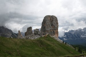 Mountain stacks: The Cinque Torre stacks in the Dolomite mountains, Italy.