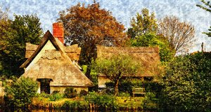 Old English thatched cottage w: Same as the photograph but a watercolour. Great for a canvas print.