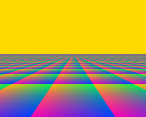 Infinite Perspective 3: A fantasy background with a horizon stretching off into an infinite distance. Bright, vivid pastels colours. Useful for children's illustrations, advertisements, covers, etc. Lots of copyspace.