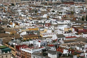 Seville 1: View from a tower of houses in Seville, Spain.