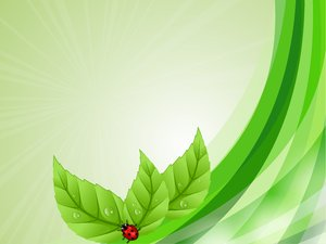 Green Dreams: Green background with stripes, leaves and ladybug