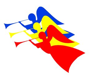 Three Angels 5: Three angels in the primary colours - red, blue and yellow -  flying with trumpets.