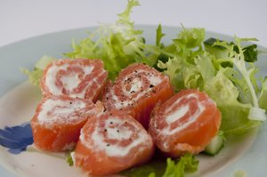 Smoked Salmon: Smoked salmon with soft cheese filling