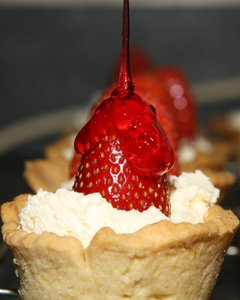 strawberry tart: get the kettle on, fresh baked homemade strawberry tarts, you just cant bet them, yummy.