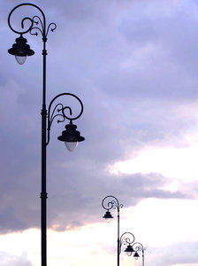Old lamps: An old lamps during the dusk.