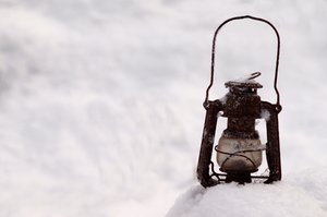 Paraffin lamp in snow