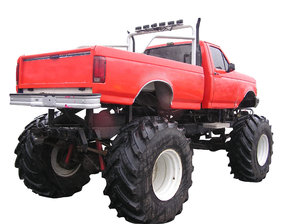 Monster Truck: A huge red monster truck isolated. Rear view.