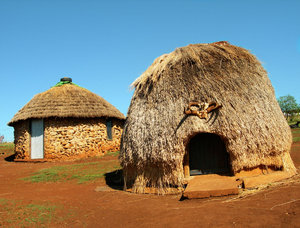primitive huts: photo taken in mozambique