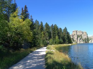 Sylvan Lake, Black Hills, Sout: Sylvan Lake, Black Hills, South Dakota is located at a high elevation with clear, clean water - great for rainbow trout fishing.