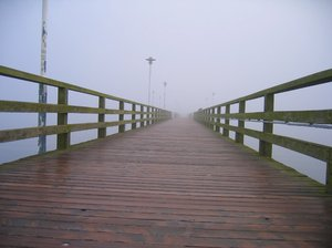 pier in morning mist