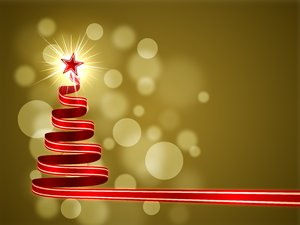 Warm Christmas: Christmas tree made ​​of red ribbons on a warm, golden background