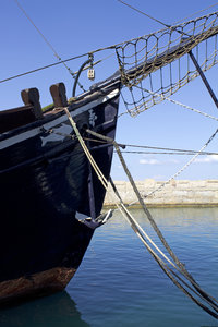 Old sailing ship: Prow of an old sailing ship in the harbour at Kyrenia, Cyprus.