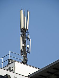 Mobile phone service antenna on telephone radio waves