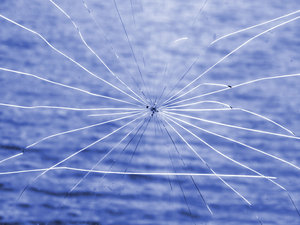 spidery cracked glass window