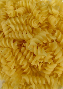 spiral pasta1: bulk quantity of raw uncooked spiral pasta