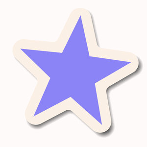 Sticker 4: A blue or violet pastel star sticker with a white border ...