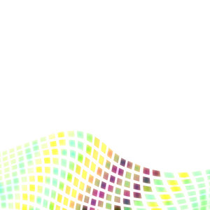 Wave Border 2: A wave of yellow, blue, purple and green squares on white forming a border for a dynamic background.