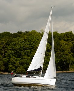 Yachting on Windermere: Yachting on Lake Windermere, UK.
