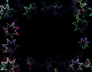 Lots of Stars 3: A black sky with rainbow coloured stars arranged in a border - just magic! A grat background, texture,fill, or element.