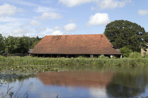 Barn by a moat