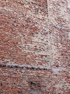 Brick wall: A wall of a building in Praga, Warsaw.