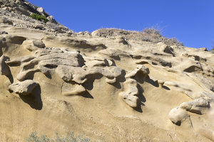Mudstone cliff: A cliff of eroded mudstone on the northern coast of Cyprus.