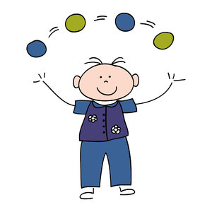 Juggle Boy: Drawing of a boy juggling four balls
