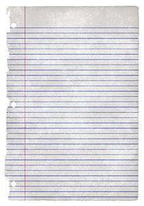 College-Ruled Grunge Paper: Grunge textured college-ruled paper.