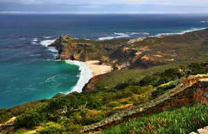 Cape Point - HDR: Wide-angle scenery of Cape Point near Cape Town, South Africa. HDR composite from multiple exposures.