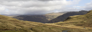Dramatic landscape: A high pass in the Lake District, Cumbria, northern England. Four image photomerge.
