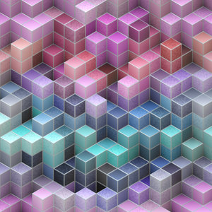Blocks 5: An abstract image of colourful translucent textured 3d blocks with metallic edges, in a variety of pastel colours. Great backgound or texture. Hi-res.