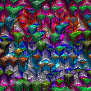Blocks 3: An abstract image of colourful translucent textured glass 3d blocks with metallic edges, in a variety of colours. Great backgound or texture. Hi-res.